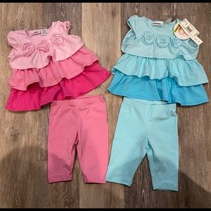 2 Ruffle Top Outfits Size 12 months